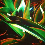 """Green & Red Leaves Abstract"" by budo"