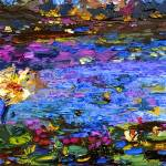 Blue Pond Modern Impressionist Mixed Media Paintin