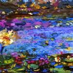 Blue Pond Modern Impressionist Mixed Media Paintin