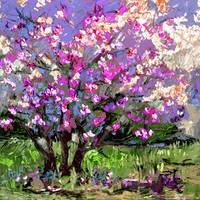 Tulip Magnolia Modern Impressionist Art by Ginette