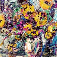 Abstract Yellow Flowers Modern Still Life