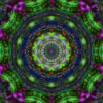 """Green and Purple Radial Abstract Tile 18"" by bloomingvinedesign"