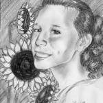 """Little Niece with Sunflowers"" by ARTistic_Anne"