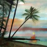 """Sunset with Palm Trees"" by schulmanart"