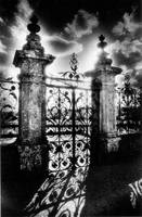 Gates, Chateau de Carrouges, Normandy, France (b/w