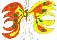 orange & yellow abstract butterfly
