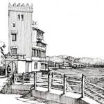 """""""castello sul mare B&W"""" by lucamassonedisegni"""