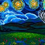 """""""Lion & Owl On A Starry Night"""" by Genevieva"""