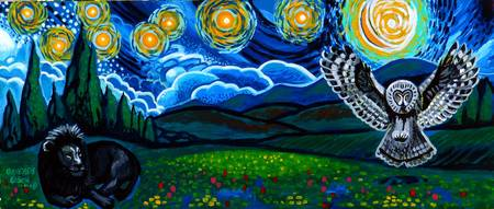 Lion & Owl On A Starry Night