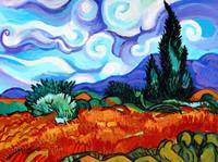 Van Goghs Wheat Fields & Cypress