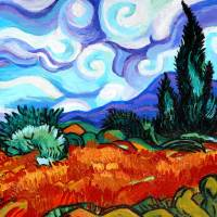 Van Goghs Wheat Fields & Cypress Art Prints & Posters by Genevieve Esson