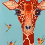 """Giraffe with hummingbirds"" by paulhood"