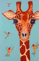 Giraffe with hummingbirds