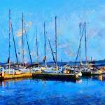 """Painting with boats on Ontario Lake"" by DiNovici"