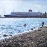 """Cunard Queen Mary as seen from Weston Shore"" by martindavey"