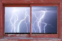 Electric Skies red Barn Picture Window Frame Art