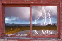 Longs Peak Lightning Barn Picture Window Frame Art