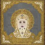 """""Golden Intercessor"" fabric mosaic - Virgin Mary"" by RemnantWorks"