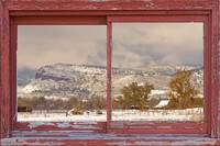Winter Rocky Mountain Foothills Red Barn Picture W