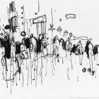 Crowds in Zaragoza Plaza Art Prints & Posters by James Abell