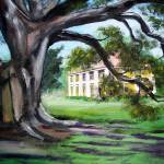 """Painted Houmas House from Under the Trees"" by ARTistic_Anne"