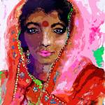 Indian Woman with Red Bindi in Sari