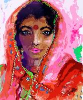 Indian Woman with Red Bindi in Sari