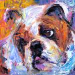 """Cute American English bulldog print"" by SvetlanaNovikova"