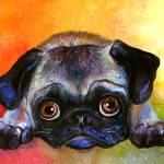 """Cute Pug dog portrait painting print"" by SvetlanaNovikova"