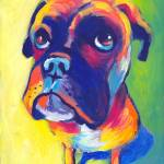"""Cute Boxer dog puppy portrait painting"" by SvetlanaNovikova"