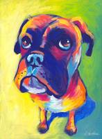 Cute Boxer dog puppy portrait painting
