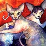 """Sphynx Cats watercolor print painting"" by SvetlanaNovikova"