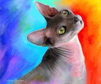Colorful Sphynx Cat portrait