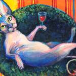 """Sphynx Cat with wine glass print painting"" by SvetlanaNovikova"