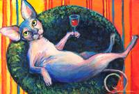 Sphynx Cat with wine glass print painting