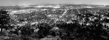 Boulder Colorado City Lights Panorama BW