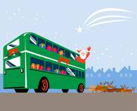 Santa Claus Double Decker Bus