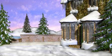 Winter Wonderland Fantasy Scenic Folk Art