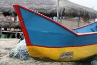 Red Blue and Yellow Fishing Boat