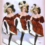 """""""Three dancing women in red costumes and feathers"""" by BlueRoosterGraphix"""