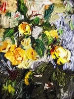 Abstract Yellow Roses Contemporary Art