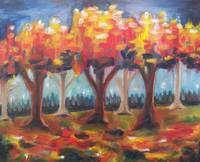 fall trees stylized