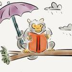 """Michelle the monkey reads in the rain"" by pauldunford"