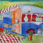 """Vintage Dream Camper - Red, White and True Blue"" by MarcyBrennanArt"