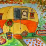 """Vintage Dream Camper - Kitty Rules"" by MarcyBrennanArt"