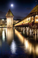 Chapel Bridge at Night in Lucerne