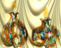 Two antique bottles of parfum. 2012 80/64 cm.
