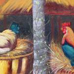 """Rooster and hen 36x13"" by cre8ivepix"