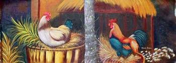 Rooster and hen 36x13