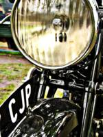 Vintage motorcycle headlight and license plate